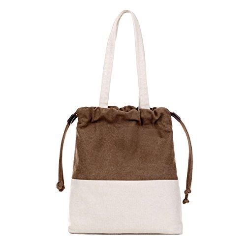 Segeltuchbeutel-Schulterbeutel Mit Einer Eimerbeutel Einfache Art Und Weise Schlagen Farbe Handtasche Brown