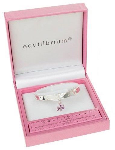 Equilibrium - Bracciale con charm a forma di fiore, placcato in argento, per bambina, colore: lilla