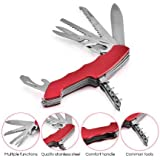 Alexvyan Stainless Steel Multi Functional Swiss Army Style Knife (Red and Black, AlexVyan-Knife5)