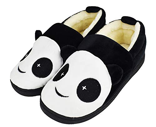Tirzrro Kids Cute Panda Slippers with Warm Plush Fleece House Slip-on Shoes