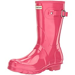 Hunter Wmn Org Short Gloss, Botas de Agua para Mujer, Rosa (Bright Pink Rbp), 38 EU