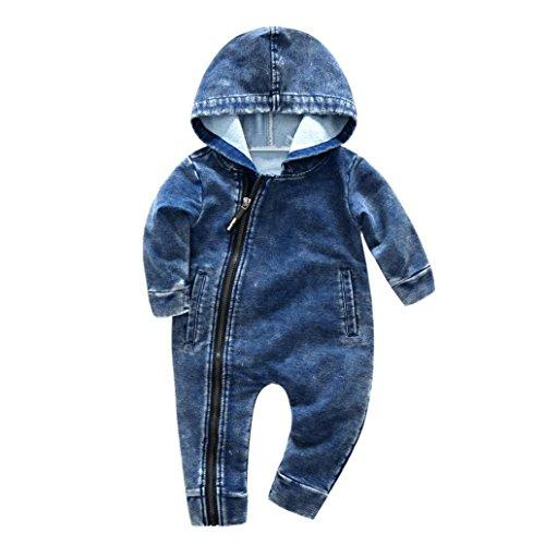 Mode Baby Reißverschluss Jeans Overall , ManadlianJungen Mädchen Tragen Mit Kapuze VerbundenKleider Overall Niedlich Lange Ärmel Kleider (6M, Blau) (Jeans Arbeit Denim)