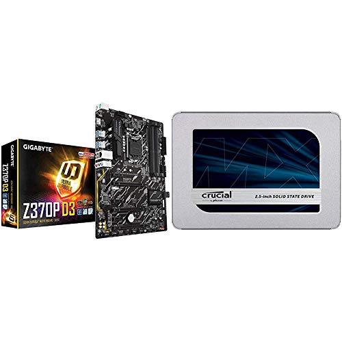 MB Gigabyte Z370 D3 (Z370,S1151,ATX,DDR4) & Crucial MX500 CT500MX500SSD1Z 500 GB Internes SSD (3D NAND, SATA, 2,5 Zoll)