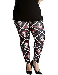 eb0026071e0af0 Nouvelle Collection Damen Leggings Übergröße Schädel Knochen & Rosen  Halloween Spezial