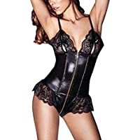 Sexy Lingerie Women Babydoll Jumpsuit High Elasticity Patent Leather Crotch Front And Rear Zippers Latex Wetlook Erotic Costumes Pole Dancing Clothes Fetish Sex Game Apparels,Black,L