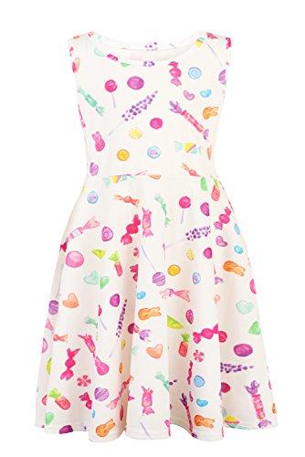 Funnycokid Baby Mädchen Sommer Kleinkind Kleider Ärmelloses süßes Kleid mit Kleid - Kleinkind Mädchen Kleid