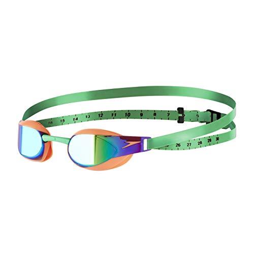 Speedo Fastskin Elite Mirror Goggles, Fluo Orange/Lawn Green, One Size