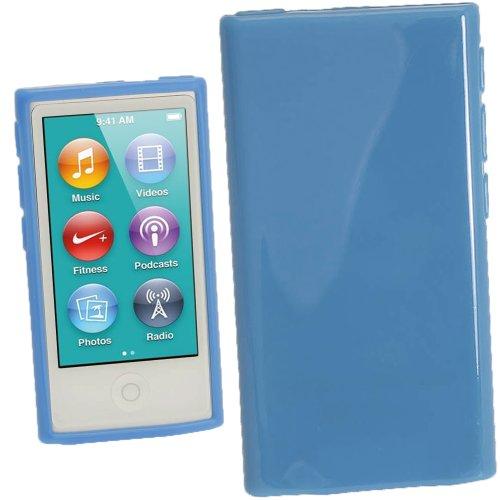 igadgitz Blau Glänzend Dauerhafte Kristall Gel Tasche TPU Hülle Schutzhülle Etui für Apple iPod Nano 7. Gen Generation 7G 16GB + Displayschutzfolie - Gb Nano 3. 16 Ipod Generation