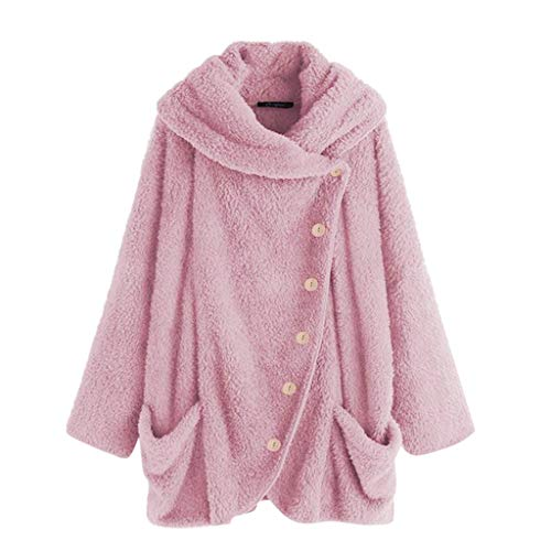 iHENGH Damen Herbst Winter Bequem Mantel Lässig Mode Jacke Mode Frauen Knopf Mantel Flauschige Schwanz Tops Mit Kapuze Pullover Lose Pullover(Pink, L) -