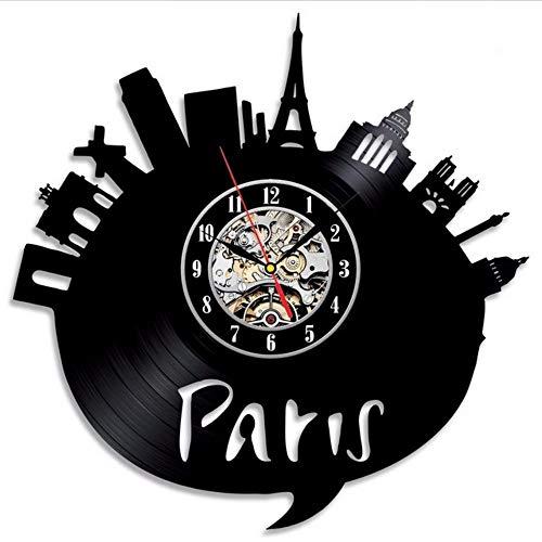 aris Stadt Thema Vinyl Wanduhr Schlafzimmer Dekoration La Crosse Dial Vision ()
