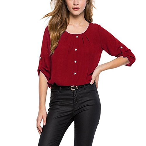 PAOLIAN Damen Frauen lose lange Ärmel Chiffon Casual Einfarbig Bluse Shirt Tops (S, Rotwein) (Top Dolman Burnout)