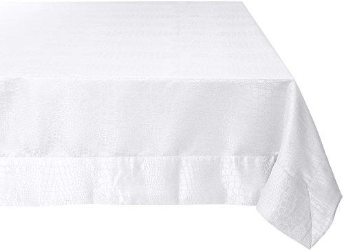 Violet Linen Luxuriöse Damast Krokodil Design Tischdecken, Polyester Textil, weiß, 80