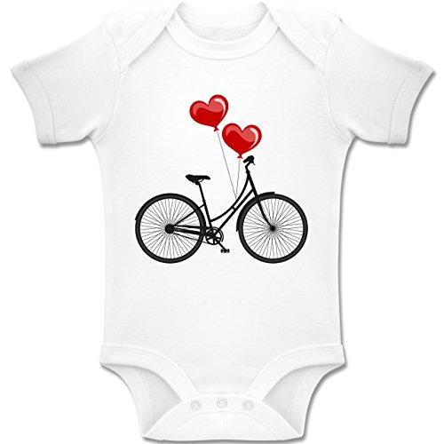 Shirtracer Up to Date Baby - Fahrrad Herz Luftballons - 1-3 Monate - Weiß - BZ10 - Baby Body Kurzarm Jungen Mädchen