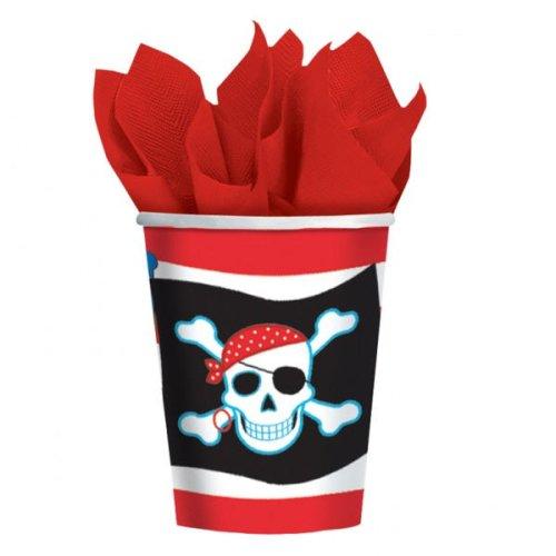 Pirate Party Piraten Dekorations Artikel 8 Becher - Tolle Deko Accessoires für Ihre Geburtstags Seefahrer Party