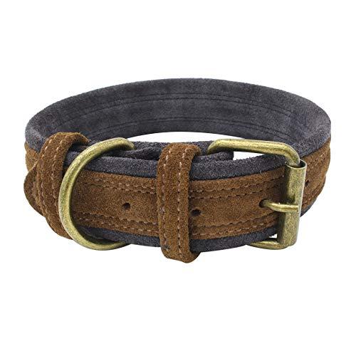 MMGN Weiche Halsbänder Komfortable einstellbare Luxus Echtleder Gepolsterte Hundehalsband für Katzen Welpen Kleine mittelgroße Hunde,Brown,M -