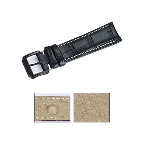 Herren-Uhrenarmband aus echtem Leder, schwarz, wasserdicht, für Männerkleid, modisch, argentinischer Stil, importiertes Kalbsleder, Breite 20 mm, mit weißen Nähten