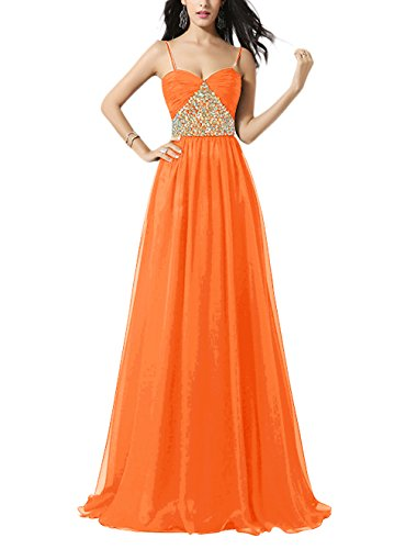 Find Dress Femme Sexy Robe de Soirée/Cocktail/Cérémonie avec Bretelles Spaghetti, Formelle Robe Longue au Sol en Mousseline de Soie avec Appliques Orange