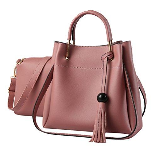 Baymate Damen Handtaschen 2 pcs Set PU Leder Quaste Henkeltasche Crossbody Tasche Handgelenktasche Pink