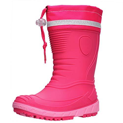 AQUAZON Classic Kinder Gummistiefel, Regenstiefel, Rain Boot, Gefüttert Mit 80% echter Schafswolle oder ungefüttert, wasserfest, federleicht für Jungen und Mädchen, Size:21, Colour:pink gefüttert
