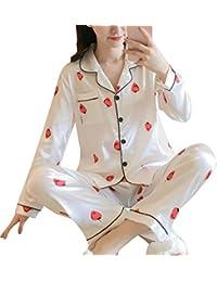 ORANDESIGNE Pijama de Seda de Dos Piezas para Las Mujeres Primavera Otoño Suave Cómodo Conjunto de