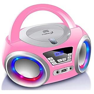 Tragbarer CD-Player | Boombox | CD/CD-R | USB | FM Radio | AUX-In | Kopfhöreranschluss | CD Player | LED-Discolichter | Kinder Radio | CD-Radio | Stereoanlage | Kompaktanlage (Pretty Kitty Pink)