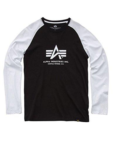 Alpha Industries Basic Langarmshirt Schwarz/Weiß L -