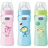 Chicco Well Being Bottle (Baby Feeding Bottle) (330ml, Blue, Pink And Green)