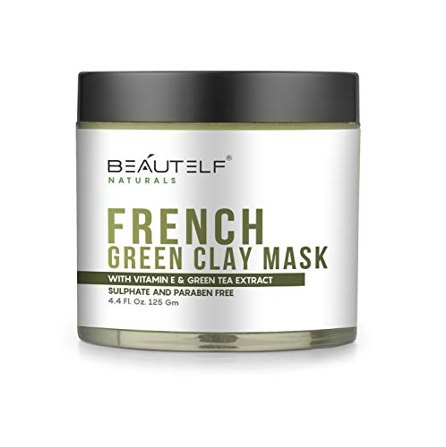 Beautelf Vitamin E 4.4 Fl Oz French Green Clay Mask for Shrinking Pores, Blackhead, Fighting Acne and Toning Skin (125 gm)
