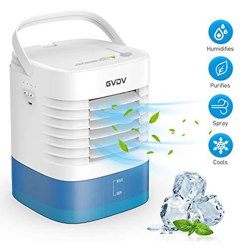 GVDV Mini Luftkühler Air Cooler 3 in 1 - USB Luftkühler Luftbefeuchter und Luftreiniger mit Ice Crystal Box, Tragbare Mobile Klimaanlage mit 3 Geschwindigkeiten, Leakproof