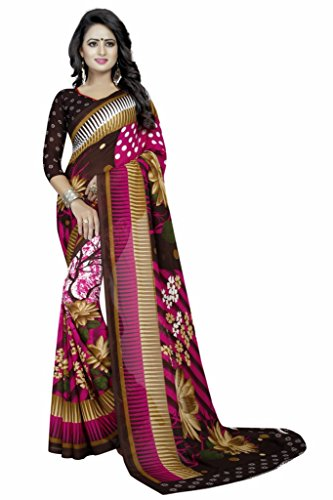 Ishin Pink Faux Georgette Party Wear Festive Wear casual Daily Wear Bollywood New Collection Printed Latest Design Trendy Women's Saree/Sari  available at amazon for Rs.424