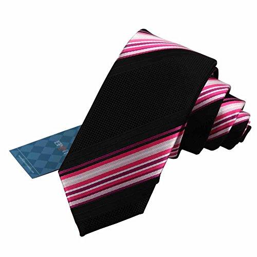 EAE1010 Excellent Family Nero Stripes Mens Silk Skinny Tie Handmade signori Certificato Per Ragazzi Per (Ombra Stripe Tie)