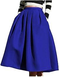 Winfon Femme Jupe Patineuse Taille Haute Vintage Mi Longue Chic Rétro Midi  Jupe Plissée 5ae8535be4a