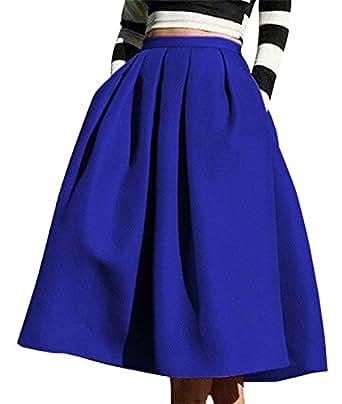 8f09883a2d6c Winfon Femme Jupe Patineuse Taille Haute Vintage Mi Longue Chic Rétro Midi  Jupe Plissée (XS