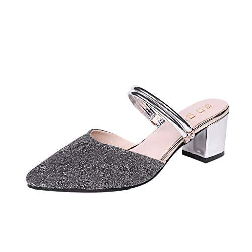 feiXIANG Sandali Estive Scarpe Donna Eleganti con Tacco Alto a Zeppa Moda High Heels Sexy Tacchi Alti a Punta Chiusa Classico Shoes da Partito Pantofole di Paillettes All'Aperto