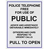 Image of 2015 EXTRA LARGE POLICE TELEPHONE PUBLIC BOX METAL ADVERTISING WALL SIGN RETRO ART - Comparsion Tool