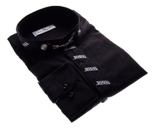 Camicia da uomo nero o bianco a forma di penna e stelo colletto camicia a maniche lunghe Nero