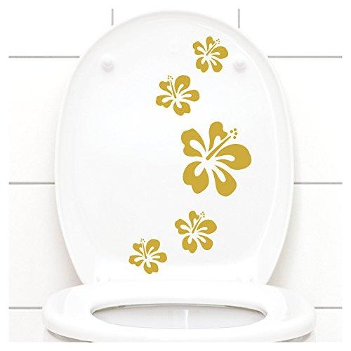 Grandora Klodeckel Aufkleber Hibiskusblüten I gold 5er Kreativset I Bad Blüten Blumen Hibiskus Aufkleber Wandaufkleber Wandsticker W916 Gold-folie-deckel