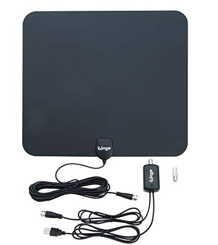 VSG® Super-Flat DVB-T2 HD 30DBi Verstärker-Antenne / aktiver 30DBi Verstärker / Power Plus USB-Netzteil / DVB-T2 & DVBT-HD / digital Ready / Super-Flat Plus / für alle DVB-T2 Geräte / Schwarz