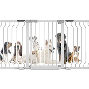 MOM Pet Playpens Door,Child Garden Safety Pet Gate Self Closing,Dual Lock Fence Lengthen Aisle Door,Metal Play Area Stairs Guardrail Gate,White,W 355-362cm   7