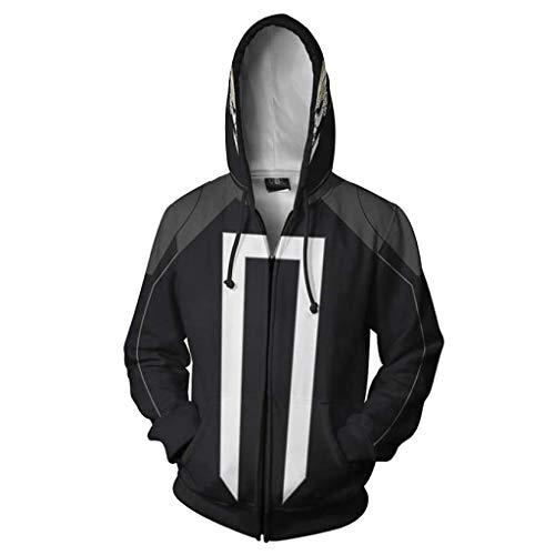 dult Zipper Hoodie Unisex bedruckter Kapuzenpullover Herren Sweatshirt Baumwolle 3D Bedruckte Oberbekleidung Jacke Halloween Cosplay Kostüm,Black-XXXL ()