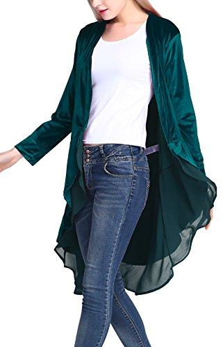 Urban GoCo Femme Longue En Velours Manteau Veste Manche Longue Asymétrique Ourlet Cape Cardigan (XL, Lyons bleu)