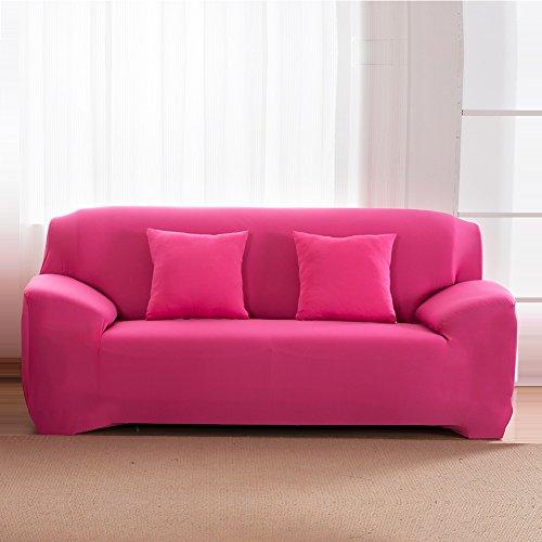 Hotniu copridivano elasticizzato, fodera per divano universale, sofa mobili copertura protettore antiscivolo, ideale per poltrone, divani a 2 3 4 posti (3 posti per 195-230cm,rosa)
