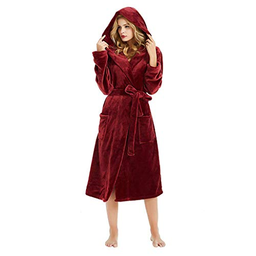 OSYARD Damen Morgenmantel Saunamantel Bathrobe Nachtwäsche, Damen Winter Bademantel mit Kapuze,Plüsch Schal Sleepweer Hausmantel,Weich Bademantel,Coral Fleece Saunamantel Lang,Größen S bis XXXXXL