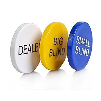 SmartDealsPro Set of 3 Small Blind, Big Blind and Dealer Poker Buttons by Smartdealspro