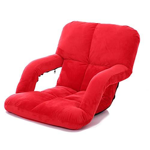 JXHD Falten Mit Armlehnen Faule Couch/Bett Stuhl - Creative Single Tatami, 7 Farben Optional,Red