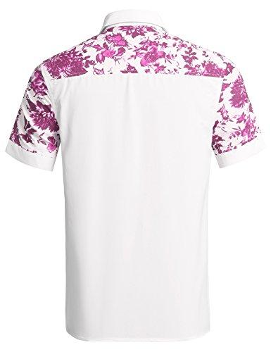 Hasuit - Camicia a maniche corte, vestibilità regolare, da uomo, fantasia floreale Rose Red