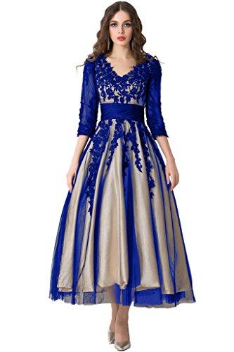 Sunvary Traumhaft Neu V-Neck Spitze Arm Abendkleid Partykleider Royalblau