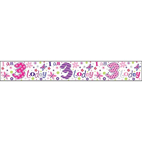Simon Elvin I Am 3 Today Hologramm Folien Banner (Pack of 6) (Pink)