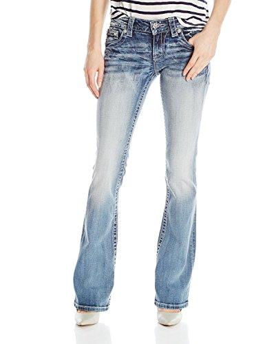 Miss Me Damen-Taschen-Muster Bootcut Jeans, 27, Denim (Miss Me Bootcut Jeans)
