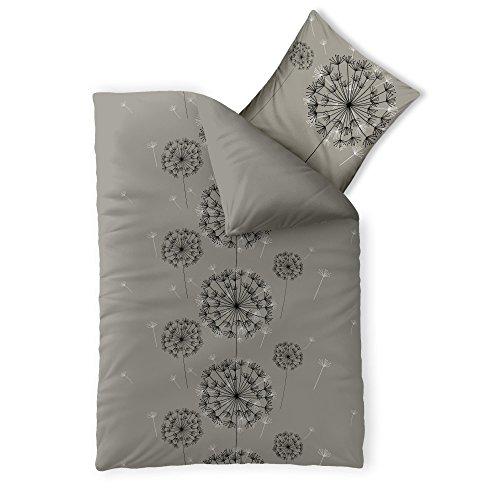 2-teilige Bettwäsche | verschiedene Größen | 4-Jahreszeiten Baumwolle Renforcé OEKO-TEX | 2 tlg. 155 x 220 cm | CelinaTex 0003326 Fashion Florence Grau Schwarz Wende-Design